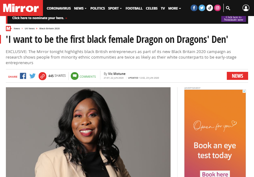 'I want to be the first black female Dragon on Dragons' Den'